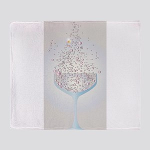 Glass Of Pink Bubbles Throw Blanket