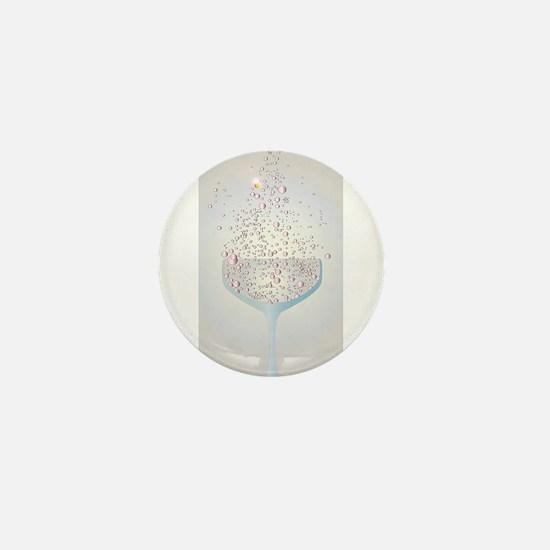 Glass Of Pink Bubbles Mini Button