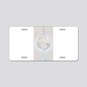 Glass Of Pink Bubbles Aluminum License Plate