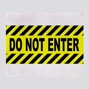 Yellow And Black Do Not Enter Sign Throw Blanket