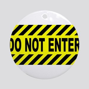 Yellow And Black Do Not Enter Sign Round Ornament