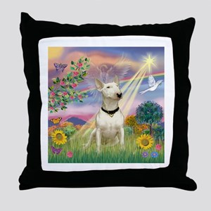 Cloud Angel & Bull Terrier Throw Pillow