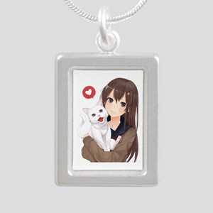 Anime Girl Holding Her Cat Necklaces