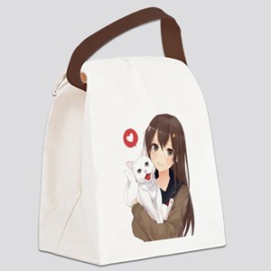 Anime Girl Holding Her Cat Canvas Lunch Bag