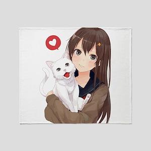 Anime Girl Holding Her Cat Throw Blanket