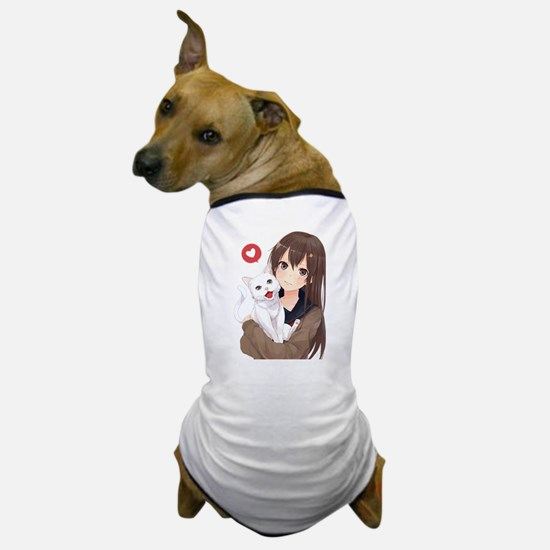Anime Girl Holding Her Cat Dog T-Shirt
