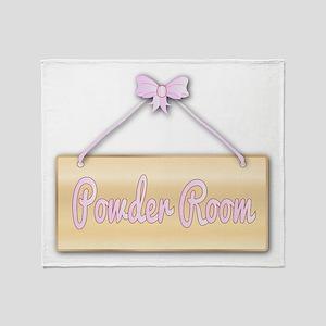 Powder Room Sign Throw Blanket