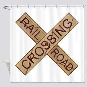 Rail Crossing Wooden Sign Shower Curtain