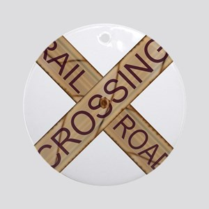 Rail Crossing Wooden Sign Round Ornament