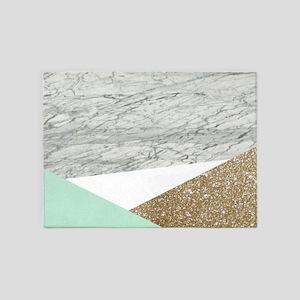 Geometric Mint Gold Glitter Marble 5'x7'Area Rug