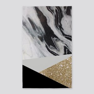 contemporary gold glitter marble Area Rug