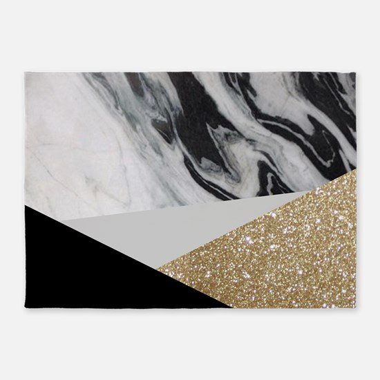 contemporary gold glitter marble 5'x7'Area Rug