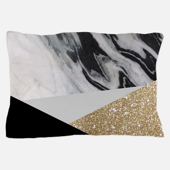 contemporary gold glitter marble Pillow Case