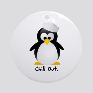 Chill Out Penguin Holiday Ornament (Round)