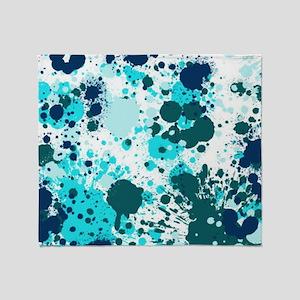 Blue splatters Throw Blanket