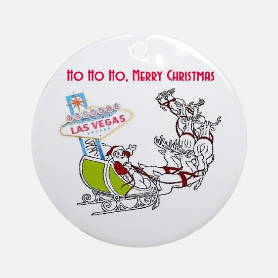 Las Vegas Ho Ho Ho Christmas Ornament (Round)