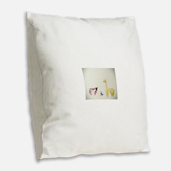 Cute Bunny Burlap Throw Pillow