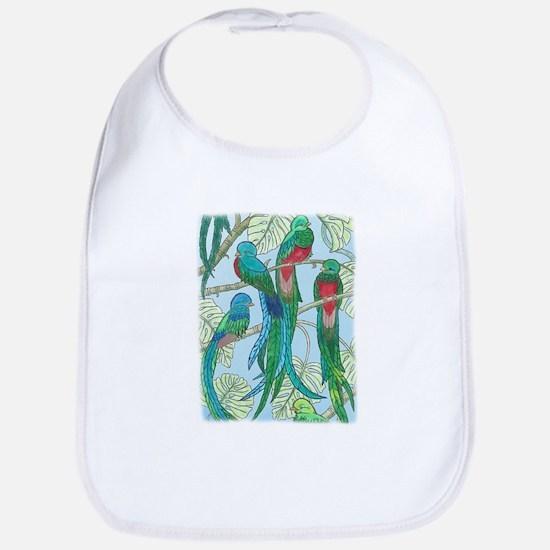 Quetzal Birds Watercolor Bib