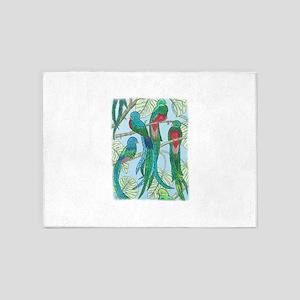 Quetzal Birds Watercolor 5'x7'Area Rug