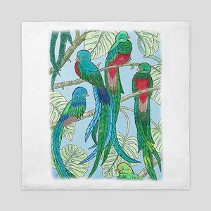 Quetzal Birds Watercolor Queen Duvet