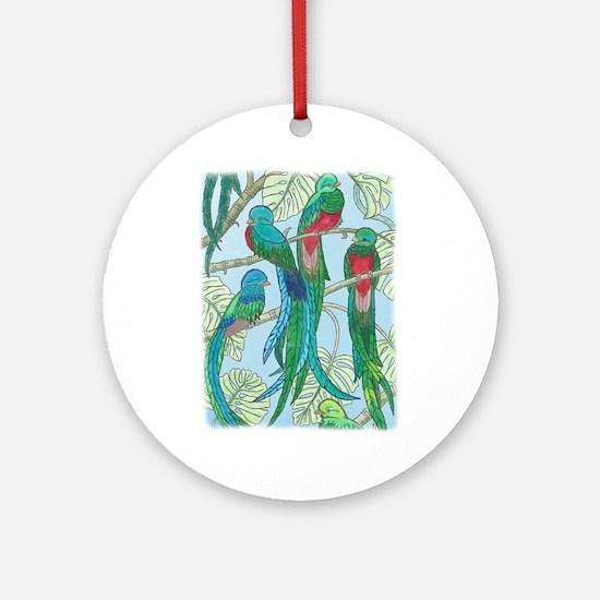 Quetzal Birds Watercolor Round Ornament
