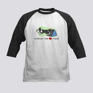 Border Collie Flyball Kids Baseball Jersey
