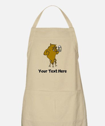 Boar Drinking Beer (Custom) Apron