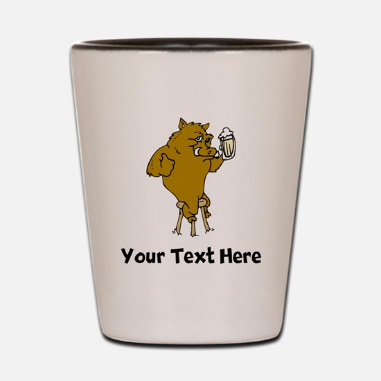 Boar Drinking Beer (Custom) Shot Glass
