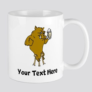 Boar Drinking Beer (Custom) Mugs