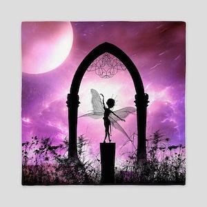 Cute dancing fairy silhouette Queen Duvet