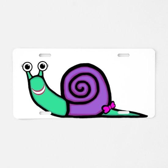 Smiley Girl Snail Aluminum License Plate