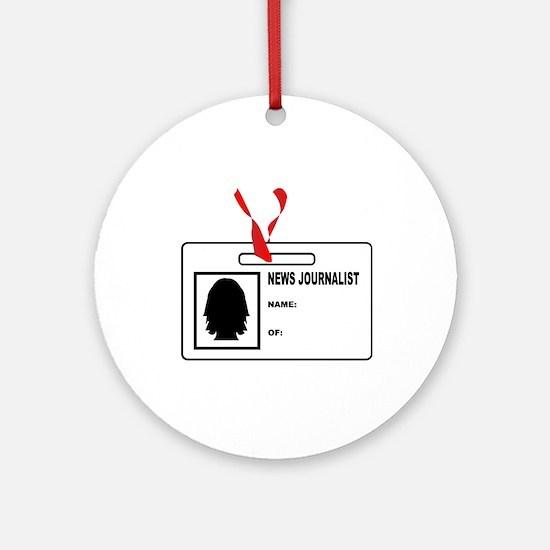 News Journalsit ID Card Round Ornament