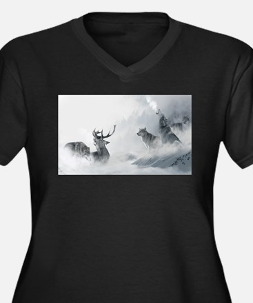 Wolf and Deer Plus Size T-Shirt