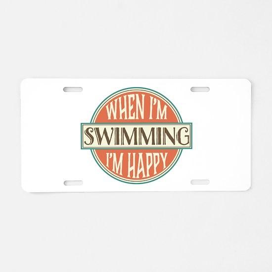happy swimmer Aluminum License Plate