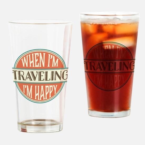 happy traveler Drinking Glass