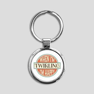 happy twirler Round Keychain