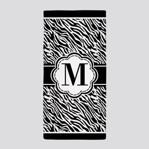 Monogram Black and White Zebra Print Beach Towel