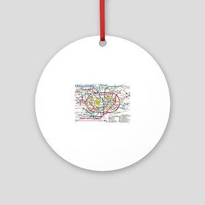 SUBWAY - METRO MAPS - TOKYO JAPAN! Round Ornament