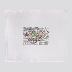 SUBWAY - METRO MAPS - TOKYO JAPAN! Throw Blanket