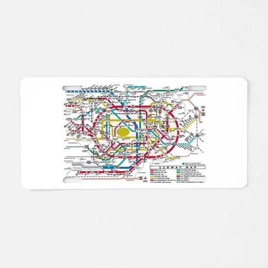 SUBWAY - METRO MAPS - TOKYO Aluminum License Plate