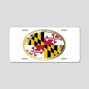 Maryland State Flag Oval Bu Aluminum License Plate