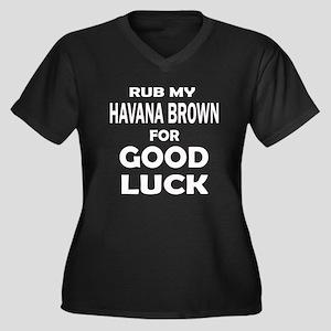 Rub my Havan Women's Plus Size V-Neck Dark T-Shirt