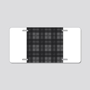 Grey Check Tartan Wool Mate Aluminum License Plate
