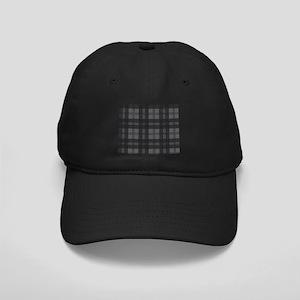 Grey Check Tartan Wool Material Black Cap