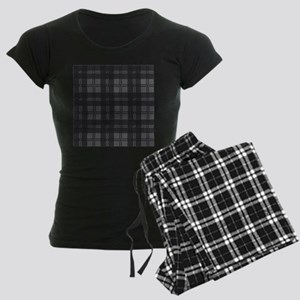 Grey Check Tartan Wool Mater Women's Dark Pajamas