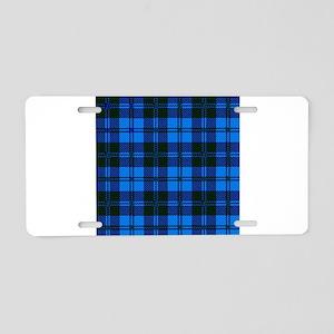 Blue Tartan Wool Material Aluminum License Plate