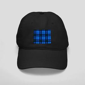 Blue Tartan Wool Material Black Cap