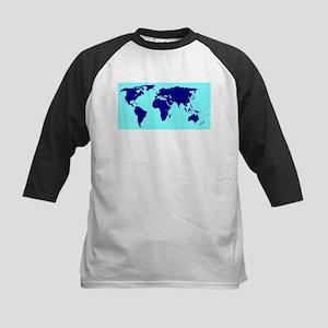 World Silhouette In Blue Baseball Jersey