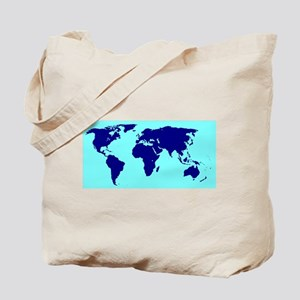 World Silhouette In Blue Tote Bag