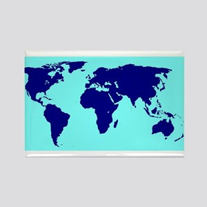 World Silhouette In Blue Magnets
